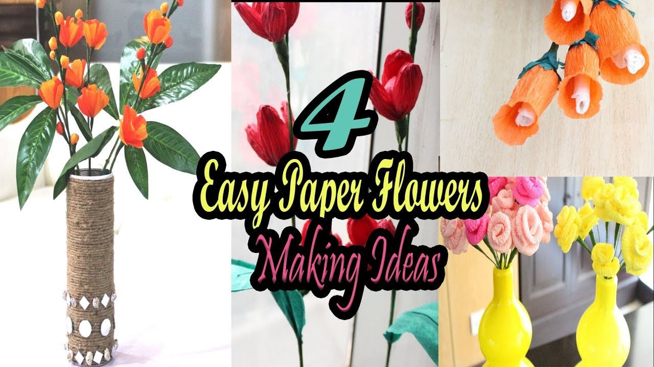 4 easy paper flower making how to make paper flowers step by step 4 easy paper flower making how to make paper flowers step by step simple paper crafts origami mightylinksfo