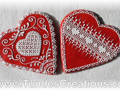 Big red gingerbread hearts with lace
