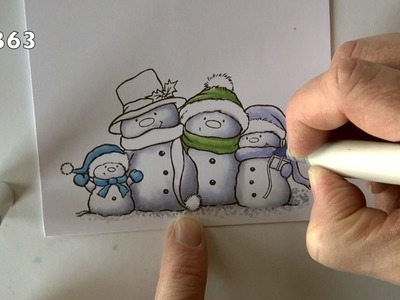 Coloring a Snowman Family with Copics