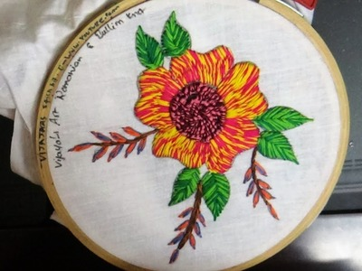 Hand Embroidery  - simple and colourful romanian & bullion knot design