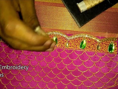 Hand embroidery zari work | hand embroidery stitches for beginners | heavy designer blouse online