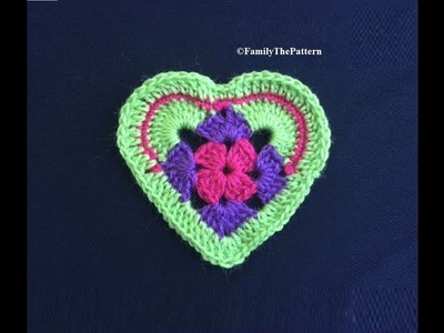 How to Crochet a Granny Stitch Heart Pattern #151│by ThePatternFamily