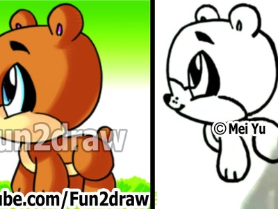 How to Draw a Cartoon Bear - How to Draw Easy things - Fun2draw Cute animals