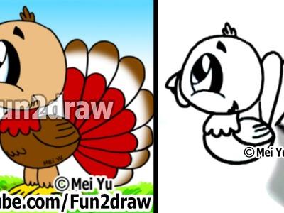 How to Draw a Cartoon Turkey