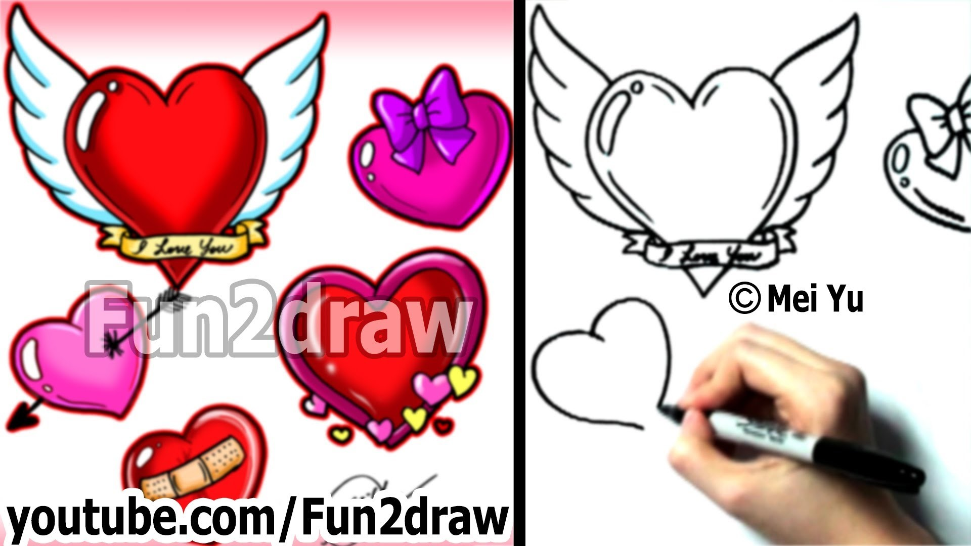 How to Draw a Heart, 5 Ways in 3 Min - How to Draw - Fun2draw