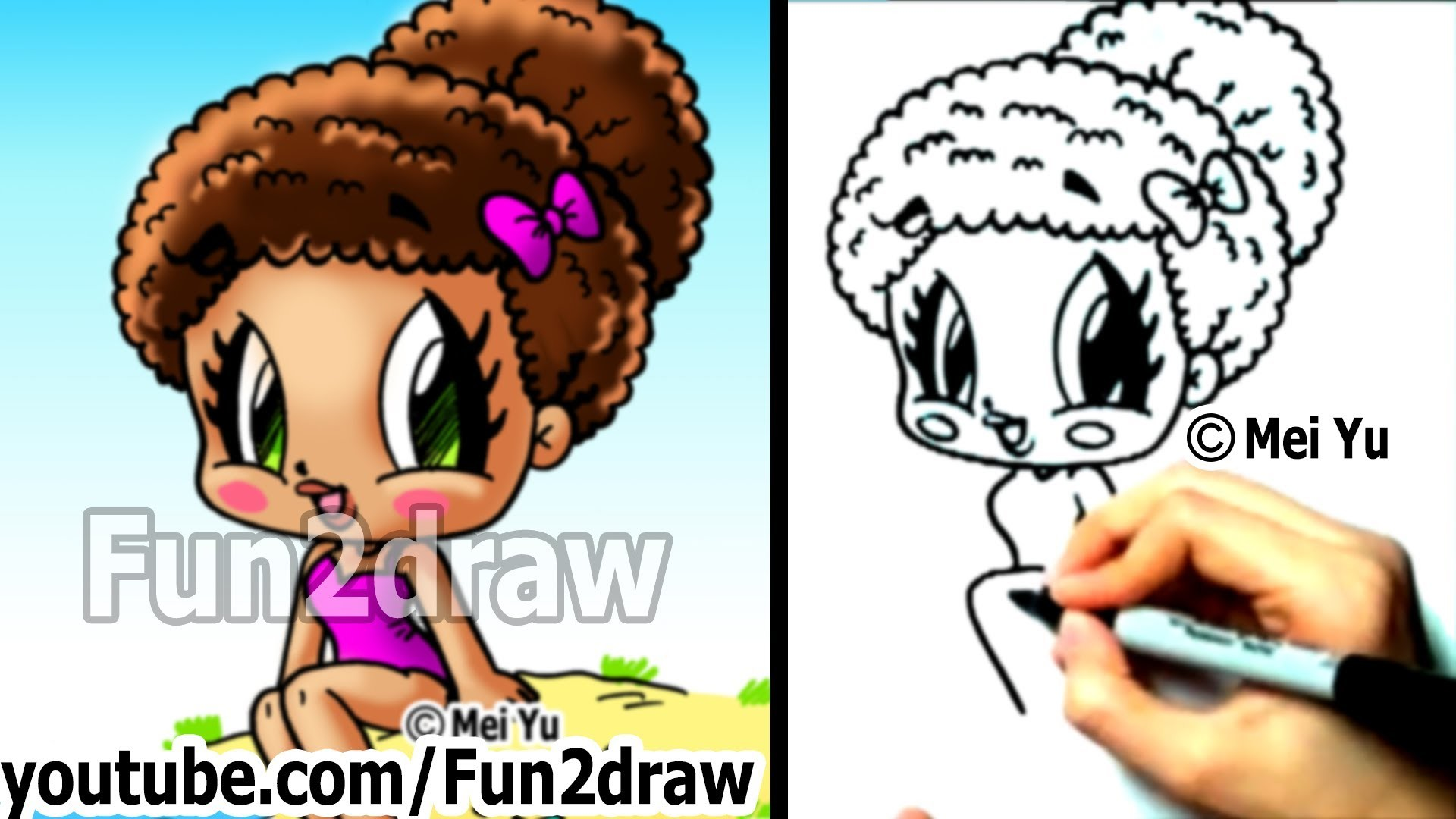 How to draw chibi characters cute beach girl fun things for Fun to draw people