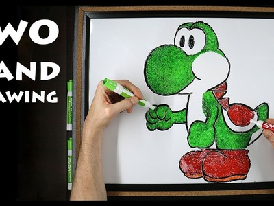 How to Draw YOSHI - Two Hand Drawing - Ambidextrous Art
