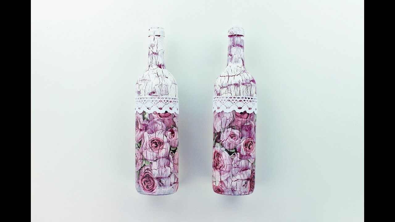 How to make a decoupage bottles with Easy Crackles - Fast & Easy Tutorial - DIY