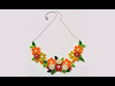How to make Quilling paper necklace step by step    Quilling arts and crafts