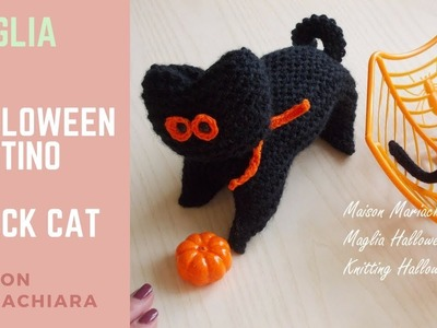 Maglia | Halloween Pupazzo Gatto - Knitting How to knit Halloween Black Cat Puppets