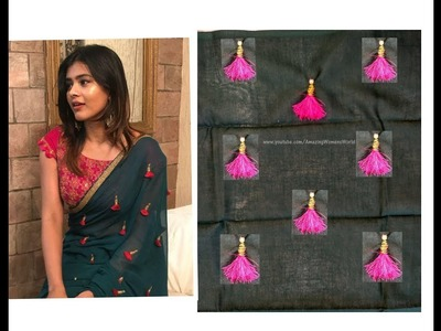 Make Your Designer Saree at home less than 400 | Tassel Designer SAREE | DIY