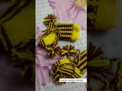 New design for woolen socks for kids or baby in hindi | two colour woolen socks for baby or kids