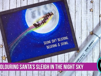 Santa's Sleigh in a Copic Night Sky Coloring Video