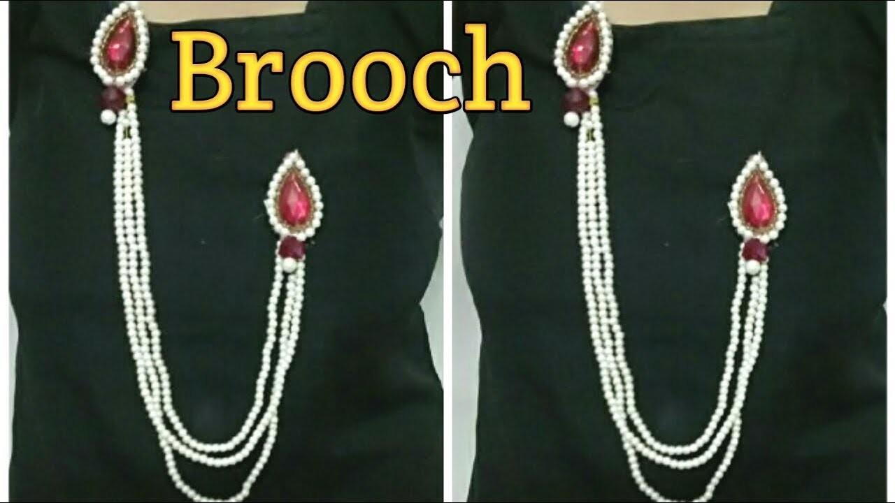 Brooch | DIY Brooch making | serwani brooch | saree brooch | Handmade brooch |