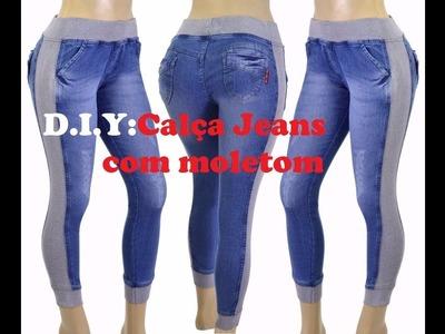 D.I.Y: como fazer calça jeans com moletom.How to make jeans with sweatpants