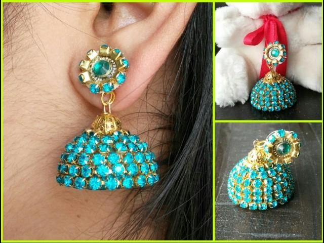 Designer bridal silk thread jhumkas with stone | make at home