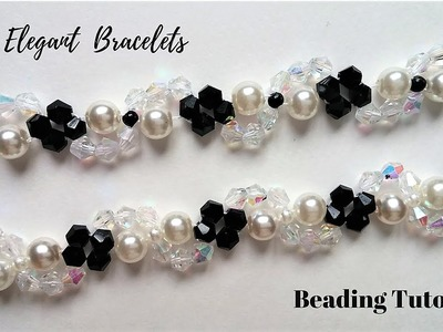 DIY Crystal and Pearls Bracelets. How to Make Beading Bracelets