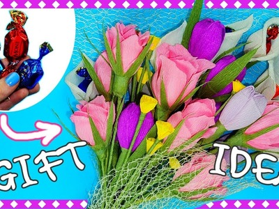 DIY easy gift idea | Flower making with paper | Bouquet of sweets