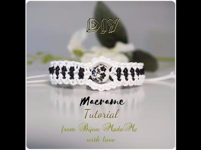 DIY macrame jewelry. How to make easy black and white macrame bracelet.