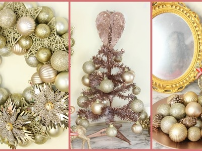DOLLAR TREE ROSE GOLD AND GOLD CHRISTMAS DECOR