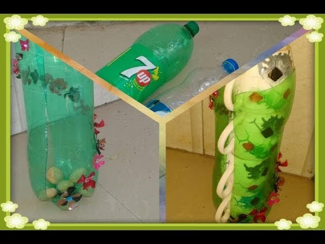 Easy Coffee cup stand out of plastic Bottle decorated with pet bottle flowers
