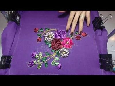 Handbag with Ribbon Embroidery Tutorial Part4