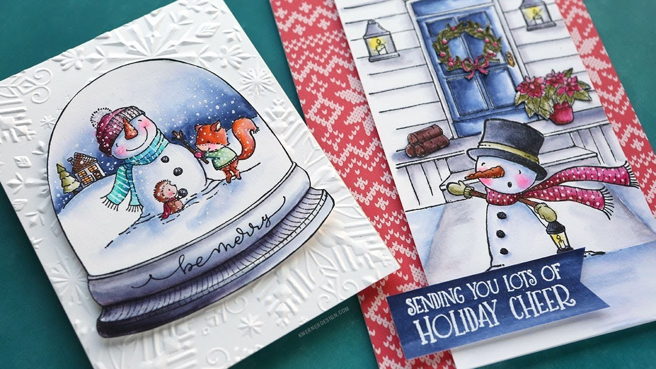 Holiday Card Series 2017 - Day 14 - Watercolor Markers & Unmounted Stamps