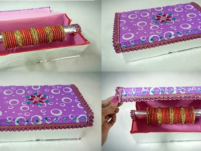 How to convert Shoe Box into Bangle Box || Best out of Waste