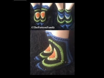 How to Crochet Slipper Boots Pattern #152│by ThePatternfamily