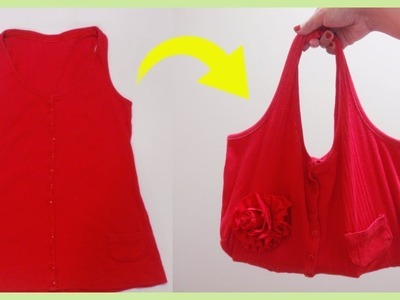 How to Make a Handbag with Flower from Sleeveless Top