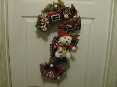 How to make Carmen's burlap Polar Bear CandyCane Wreath