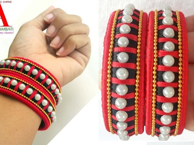 How to make Designer checker model Silk Thread Bangles with mothis at home
