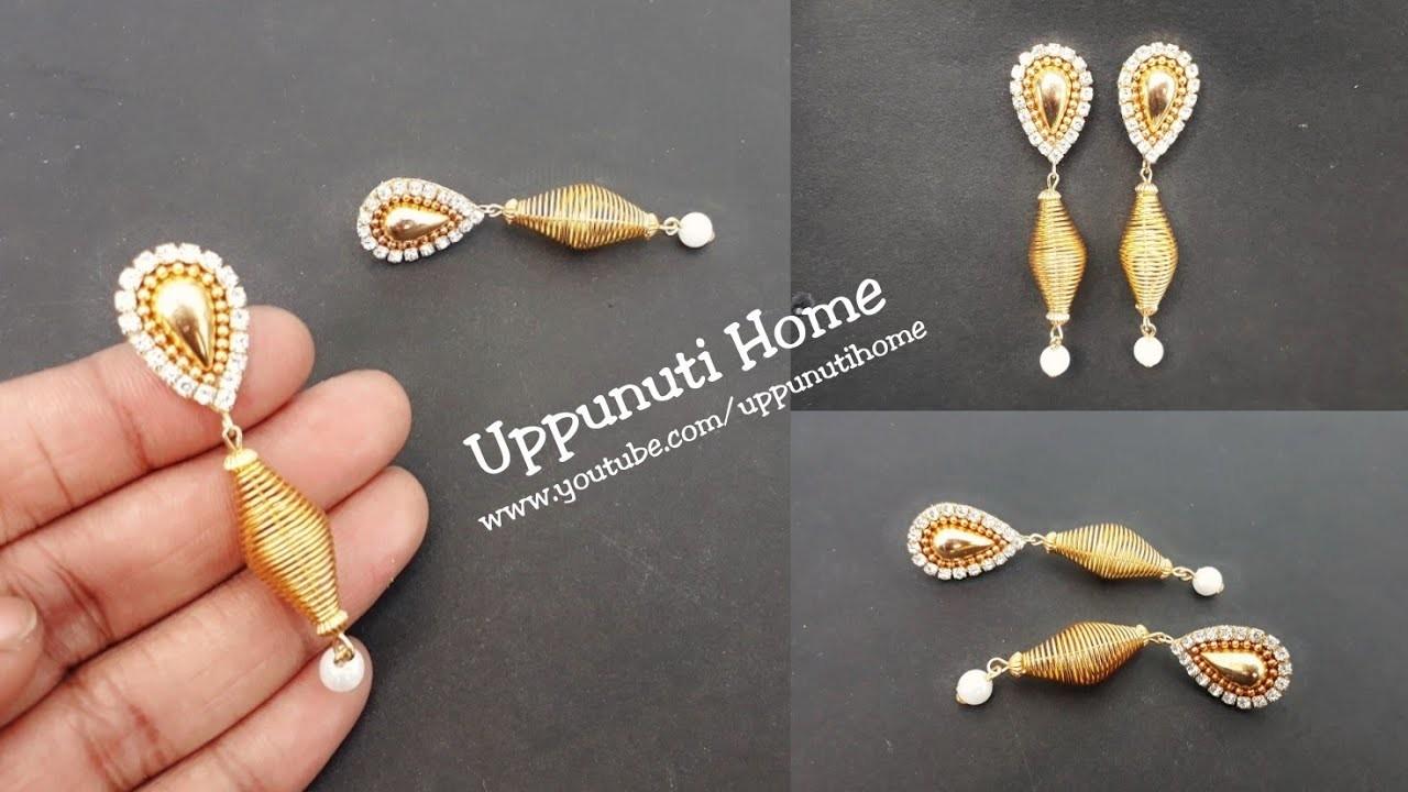 How To Make Designer Fancy Earrings At Home | DIY | Pearl Earrings | Jewelry making | Uppunuti Home