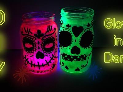 How To Make Glow In The Dark Mason Jar |  Monster Glow Lanterns