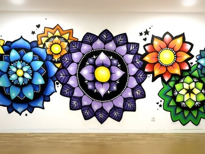How to Paint a Mandala - Ellen Stapleton - Hand Painted Mandala - Wall Art Mural - Vegan Cafe Yoga