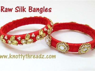 Making of Raw Silk Bangles | Aari Work Bangles | Maggam Work Bangles | www.knottythreadz.com