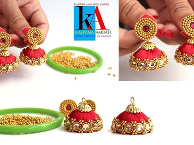 Making of Silk Thread Earrings with Gold Kundans. gold balls silk thread jhumkas