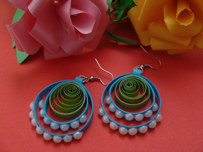 Quilling loop earrings with beads new design