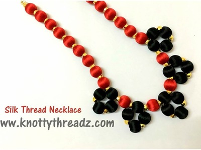 Silk Thread Necklace | Beaded Necklace |  Red and Black| www.knottythreadz.com