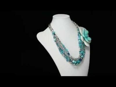 Spring Blue Beaded Multi Strand Flower Necklace