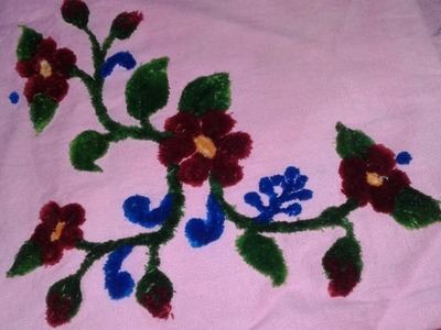 Velvet embroidery with punch needle