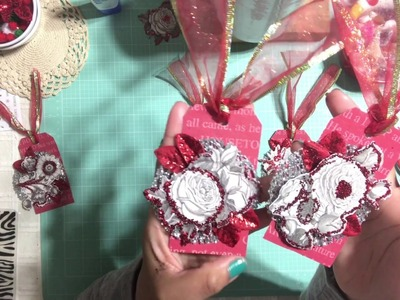 #4 Christmas Series 2017 ???????? - Simple Handmade Gift Tags Using Botanical Flowers Embellishments