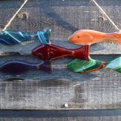 5 fish set fused glass bright colours.Hang anywhere bathroom, shed, outside consevatory etc. in fused glass, MADE TO ORDER
