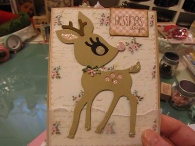 A tiny ribbon christmas tree gift and Christmas cards