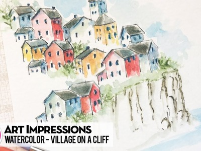 Ai Watercolor - Village on a Cliff