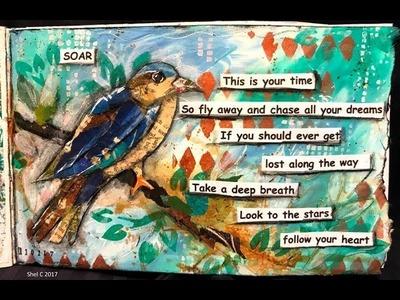 Art Journaling Everyday Challenge #ArtJournalHabit2017- Day 1 Bird