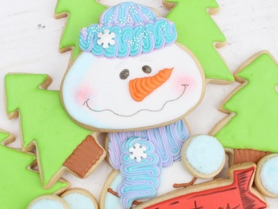 Christmas Cookie Platter with Snowman & Christmas Tree Scene perfect gift idea