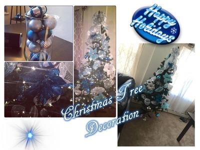 Christmas Tree Decoration   Blue & Silver