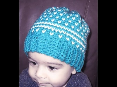 Crochet fair isle baby hat