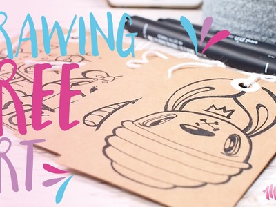 Cute Mailing Tag Doodles. Drawing Free Art using Uniball Pin! Kawaii! - Miss Wah